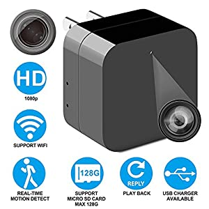 New Hidden Spy Camera USB Phone Charger AC Adapter Wireless Wifi Mini Spy Camera 1080p Motion Detection WiFi Remote View For Home Security Camera Alarm Notification 128GB Micro SD Card Support