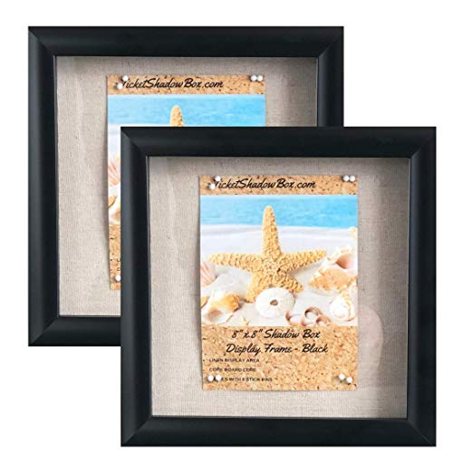 "(2-pack) 8""x8"" Black Display Shadow Box Frame w/ Linen Background and 16 Stick Pins - Ready To Hang Shadowbox Picture Frame - Easy to Use - Box Display Frame, Baby and Sports Memorabilia Wedding Baby"