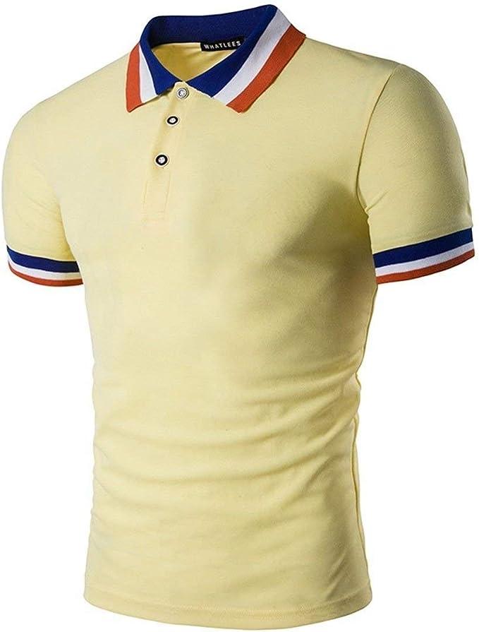 Camisa De Polo Casual para Hombre Salir De Retro Color Sólido ...