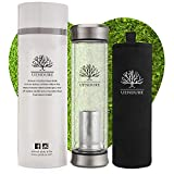 UEndure Glass Tea Infuser Bottle + Strainer | 14oz Tea Tumbler - Loose Leaf Tea Infuser, Herbal,Green Tea & Matcha Shaker, Eco-Friendly Cold Brew Coffee Mug + Fruit Infuser Water Bottle.Travel Sleeve!