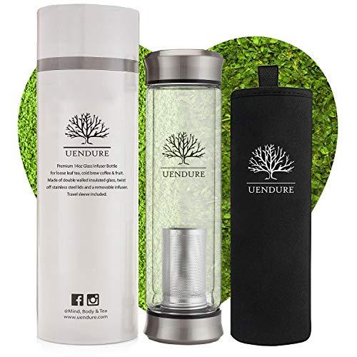 UEndure Glass Tea Infuser Bottle + Strainer | 14oz Tea Tumbler - Loose Leaf Tea Infuser, Herbal,Green Tea & Matcha Shaker, Eco-Friendly Cold Brew Coffee Mug + Fruit Infuser Water Bottle.Travel Sleeve!