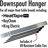 Heat Cable Downspout Hanger for Securing Ice Dam Heat Tape and Heat Cable to gutters