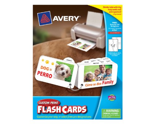 Card Flash Avery (Avery Custom Print Flash Cards with Divider Tabs and Ring, 3 x 5 Inches, for Inkjet and Laser Printers, 100 Pack (04753))
