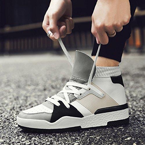 Men's Shoes Feifei Winter Leisure Wear-Resistant High Help Tide Shoes 2 Colours (Color : White, Size : EU39/UK6.5/CN40)