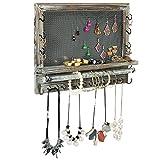 Rustic Wood & Metal Mesh Wall Mounted Jewelry Hanger, Necklaces, Bracelets & Earrings Organizer Rack