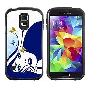 LASTONE PHONE CASE / Suave Silicona Caso Carcasa de Caucho Funda para Samsung Galaxy S5 SM-G900 / Blue Butterfly Girl
