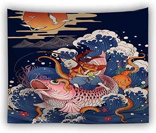 創造的な波デジタル印刷タペストリー浮世絵ホームリビングルーム背景布/テーブルクロス/ビーチタオル LMMSP (Color : A, Size : 100cm × 150cm)