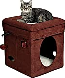 MidWest Homes for Pets CAT CUBE - Bed Topper Curious CAT FURNITURE - Brown Suede