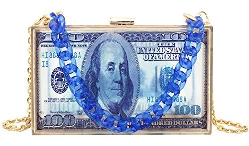 Dollar Bill Money Clutch Purses for Women Crossbody Small Cute Acrylic Box Evening Bag Transparent Graffiti Handbag