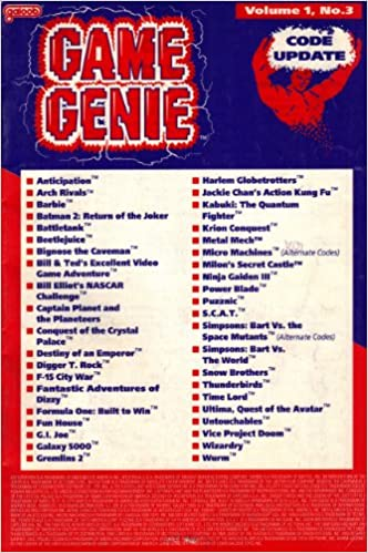 Game Genie Code Update Book For Nes Volume 1 Number 3