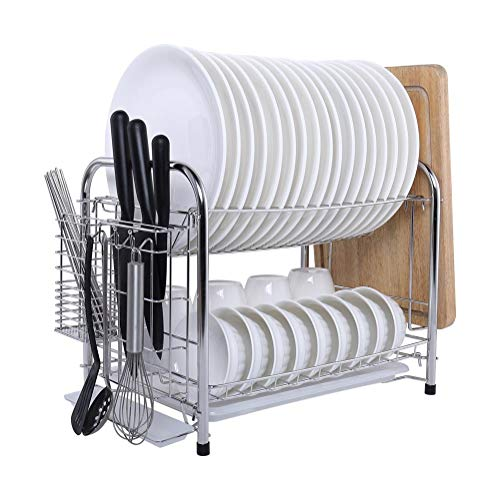 MICOE Stainless Steel Dish Drain Drying Rack with Cutting Board Bracket 2 Layers Cutlery Rack Large Capacity Tool-Free Installation H-WDG2003