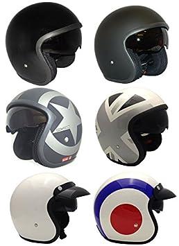 Casco de la Motocicleta Jet Casco Cascos Abiertos VIPER RS-V06 Casco de Moto Con Visera Nuevos Colores (L, Matt Negro Star) MOTOHART
