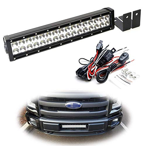 (iJDMTOY Lower Grille Mount LED Light Bar Kit For 2015-up Ford F150 XLT Lariat and Limited, Includes (1) 96W High Power LED Lightbar, Lower Bumper Opening Mounting Brackets & On/Off Switch Wiring Kit)