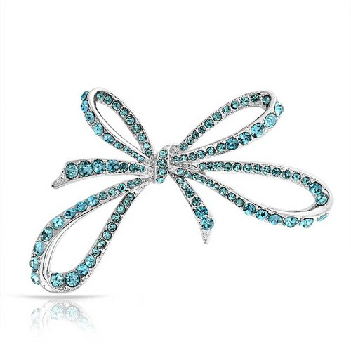 Bling Jewelry Large Fashion Statement Blue Aqua Crystal Ribbon Bow Brooch Pin for Women Rhodium Plated Alloy