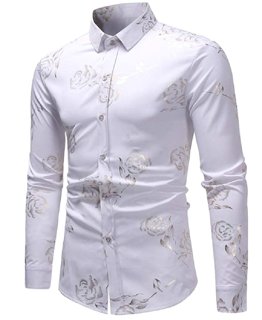 CuteRose Men Slim Casual Flower Printed Big and Tall Western Shirt