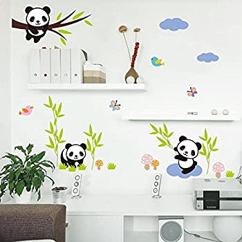 AmaonmR Hot Fashion Nursery Room Decor Removable DIY 3D Panda Bamboo Birds Flying Butterfly Wall