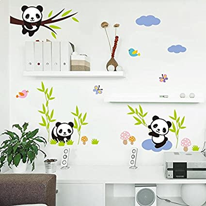 Amaonm® Hot Fashion Nursery Room Decor Removable DIY 3D Panda Bamboo Birds  Flying Butterfly Wall