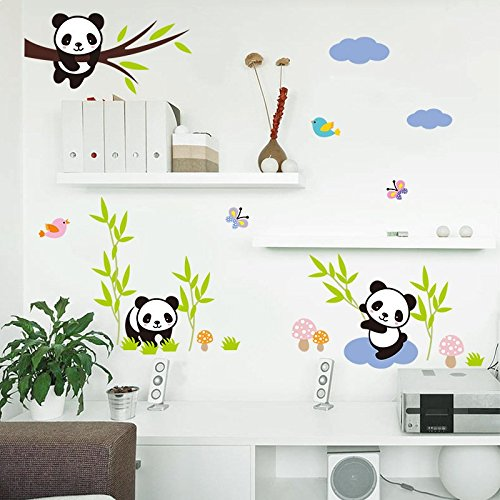 Amaonm Hot Fashion Nursery Room Decor Removable DIY 3D Panda Bamboo Birds Flying Butterfly Wall Decals Kids Room Decorations Wall Stickers Murals Peel Stick Girls for Bedroom Classroom
