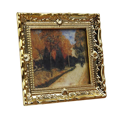 Dollhouse Miniature 1:12 Frame Autumn Woods Mural Wall Painting