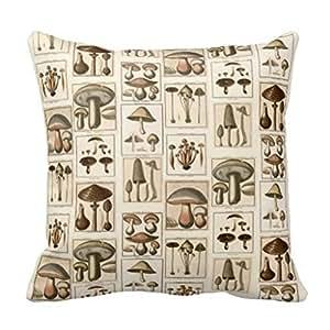 Damuyas Vintage Mushroom Botanical Prints Home Decor Cushion Cover Throw Pillow Case (mushroom)
