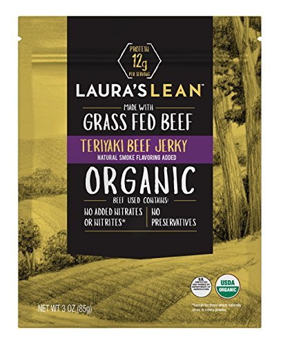Laura's Lean Beef Organic Grass Fed Jerky, Teriyaki, 3 Oz Bags (Case of 8)