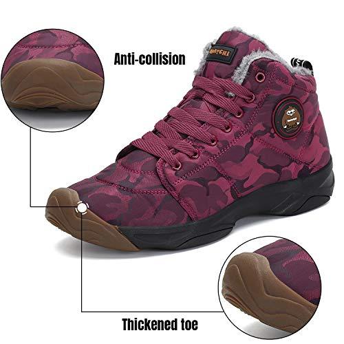 Da Uomo Scarpe Caldo Allineato Boots Outdoor Stivaletti Caloroso Neve Invernali Stivali Pelliccia Caviglia Sportive Piatto Rosso lF1JcTK3