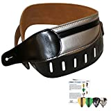 ChromaCast Speed Series Leather Racing Stripe Guitar Strap with 4 Pick Sampler, Silver with Black