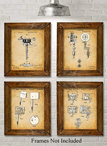 - Original Tattoo Machine Patent Prints - Set of Four Photos (8x10) Unframed - Makes a Great Gift Under $20 for Tattoo Artists, Parlors, Ink Fans