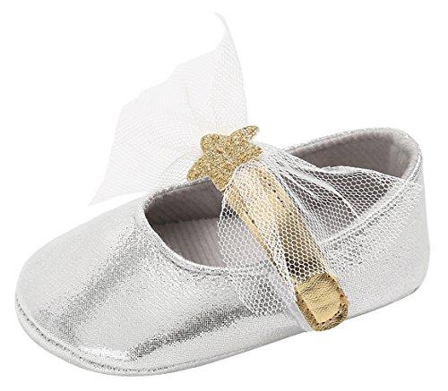 EOZY Baby Mädchen Mary Jane Taufschuhe Anti Rutsch Lauflernschuhe Krabbelschuhe Prinzessin Silber
