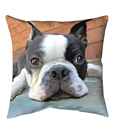Boston Terrier Portrait (Manual Woodworkers Mosley Boston Terrier 12 inch x 12 inch)