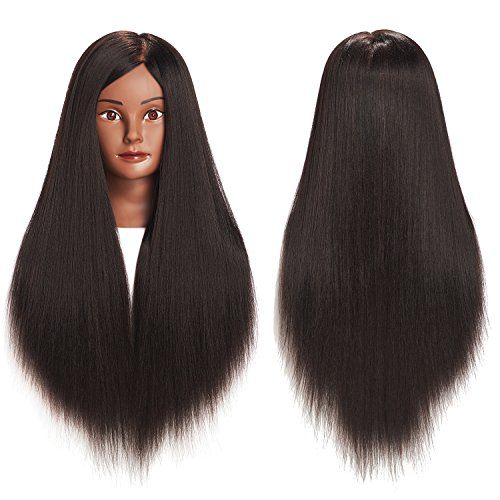 26-28'' 100% Yaki Hair Mannequin Head Training Head Cosmetology Manikin Head Doll Head With Free Clamp (1711BY0220) by training head