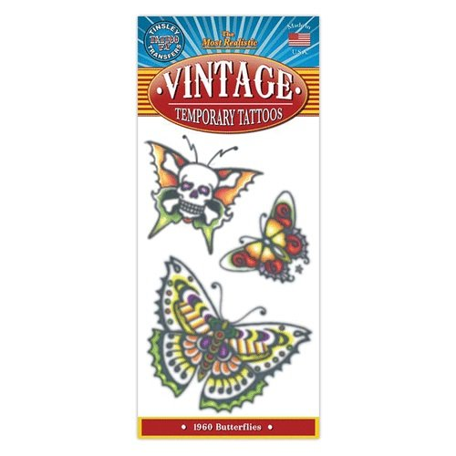 1960 Butterflies Design Vintage Type Temporary Tattoo (Zombie Temporary Tattoos)