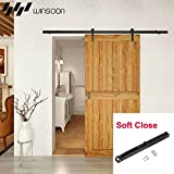 WINSOON Single Straight Style Vintage Rail Sliding Barn Wood Door Hardware Track Rollers Kit with 1PC Soft Close Mechanism (6.6FT)