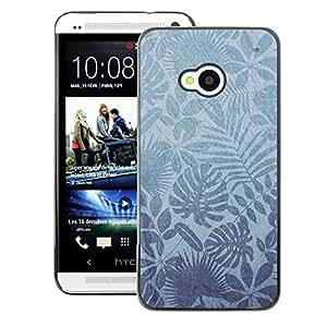 A-type Arte & diseño plástico duro Fundas Cover Cubre Hard Case Cover para HTC One M7 (Nature Leaves Tropical Wallpaper)