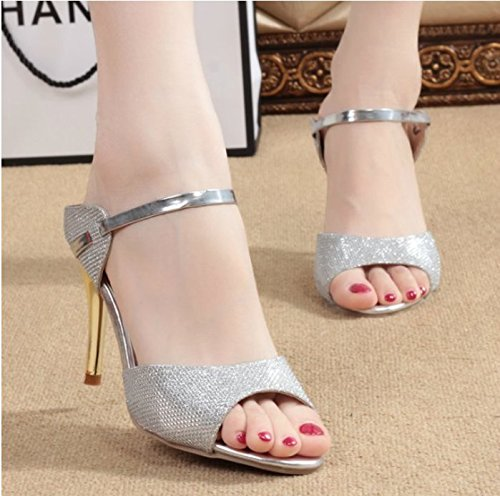KHSKX-New Fish Mouth Thin Heel Heel Shoes Temperament Simple Korean Fashion Female Sandals Thirty-four WHTg4EB
