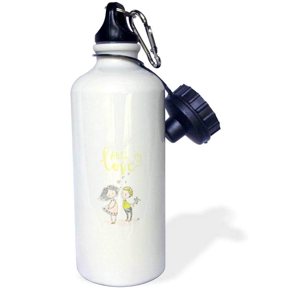 3dRose Uta Naumann Sayings and Typography - Yellow Summer Couple Fun Illustration Typography -All You Need is Love - 21 oz Sports Water Bottle (wb_291973_1)