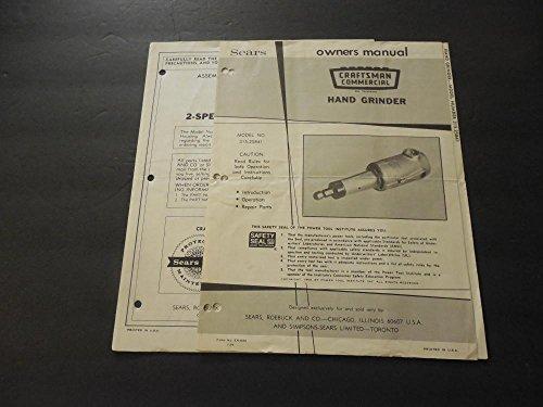 2 Craftsman Owners Manuals 2 Speed Sander-Polisher; Hand Grinder ()