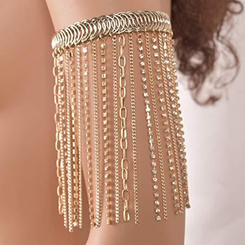 Connie Cloris Women Gold Bra Body Chain Suit (Gold-Breast Chain-Waist Chain-arm Chain-Leg Chain) by Connie Cloris (Image #4)