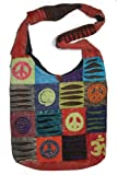 SJ 05 Patchwork Peace Om Spiral Cotton Shoulder Bag Purse (Red)