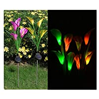 Acchen 2 Pack Solar Lights Outdoor Solar Garden Stake Light with 12 Calla Lily Flowers Color Changing LED for Garden Patio Path Decoration