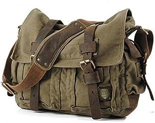 4ca48a4ccf295 Vintage Army Canvas   Genuine Leather Shoulder Messenger Bag - Medium Size