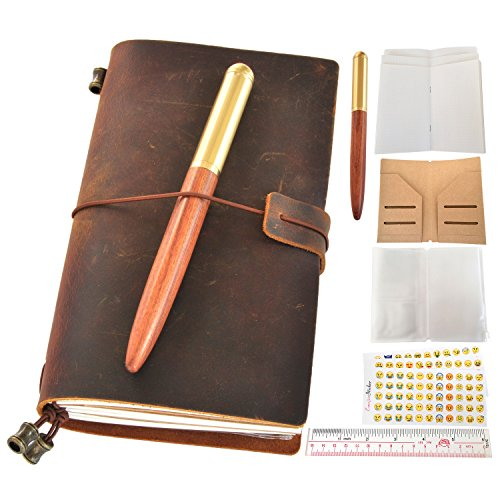 LEAFPAQ Handmade Genuine Leather Journal Refillable Travelers Notebook and Wood Pen Gift Set for Men & Women Vintage Antique Wooden Barrel Pen & Writing Bound Bullet Journal to Write in, 6.9 x 4.3''