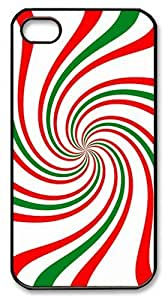 IMARTCASE iPhone 4S Case, Festive Holiday Candy Cane Swirl Design PC Black Hard Case Cover for Apple iPhone 4S/5 by heywan