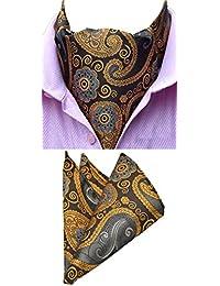 MOHSLEE Men's Paisley Floral Luxury Silk Cravat Ties Woven Ascot Scarf Hanky Set