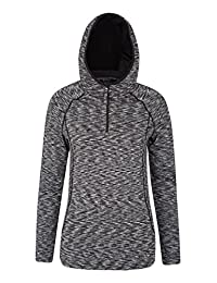 Mountain Warehouse IsoCool Dynamic Chakra Hooded Womens Midlayer - Lightweight, Breathable, Antibacterial & High Wicking Fabric with Flat Seams for Extra Comfort Grey 2