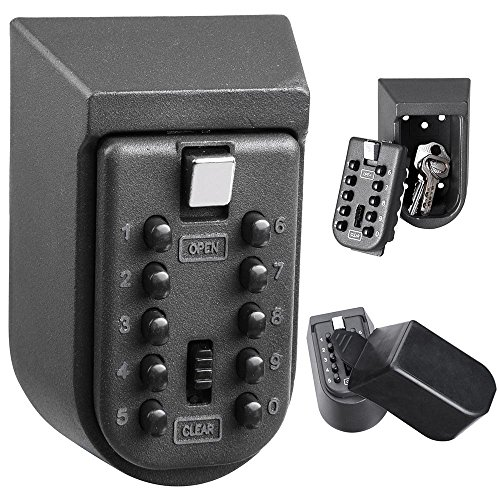 Key Lock Box Combination Lock Box 10-Digit Push-Button Secure Portable Key Storage Wall Mount Safe Lock Key Box For Indoors House or Outdoors (10 Lock Boxes Key)