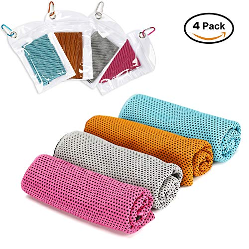 SanBao Ice Sport Towel,- (4 Pack) Soft Breathable Chilly Towel for Instant Cooling Relief. Stay Cool for Travel Camping, Yoga, Running and More Activities[40×12in] by SanBao