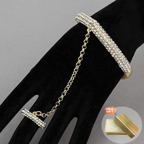 Gold Rhinestones Chain Ring Attached Stretchable Urban Trendy Bangle Fashion Jewelry Bracelet For Women + Gold Cotton Filled Gift Box for - Trendy Bangles Jewelry