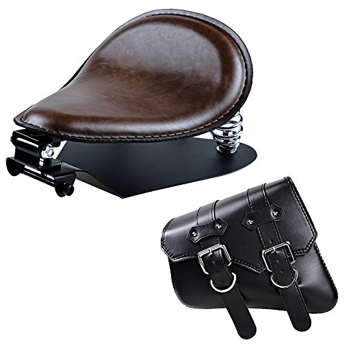 Foam Saddle Solo (Brown Leatherette Retro SOLO Seat Kit + Left Swing Arm Saddle Bag For Harley Sportster XL883 XL1200)