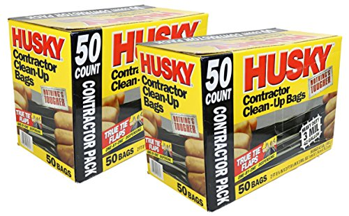 Husky 42 Gallon Contractor Clean-Up 3-Mil Trash Bags (100 Pack: 2 sets of 50)